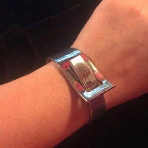 Futuristic silver cuff bracelet